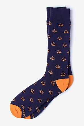 Scales of Justice | Lawyer Navy Blue Sock