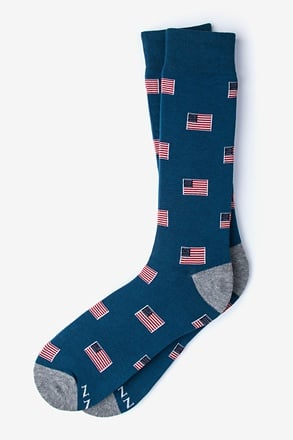 _American Flags Navy Blue Sock_