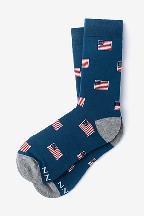 _American Flags Navy Blue Women's Sock_