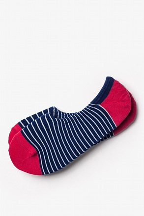 Villa Park Stripe Navy Blue No-Show Sock