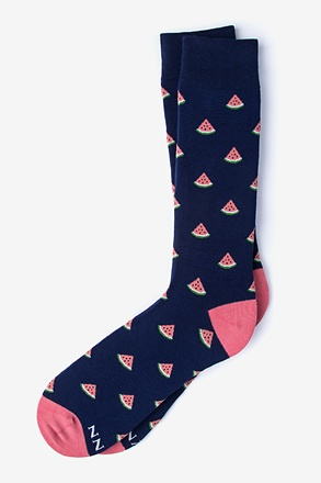 _Watermelon Navy Blue Sock_