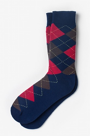 Westminster Argyle Navy Blue Sock