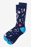 Navy Blue Carded Cotton What's up Doc? Sock