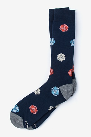 _Yes They're Natural D20 D&D Navy Blue Sock_