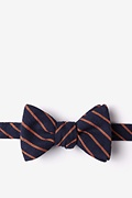 Navy Blue Cotton Arcola Self-Tie Bow Tie