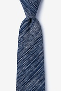 Navy Blue Cotton Bates Extra Long Tie