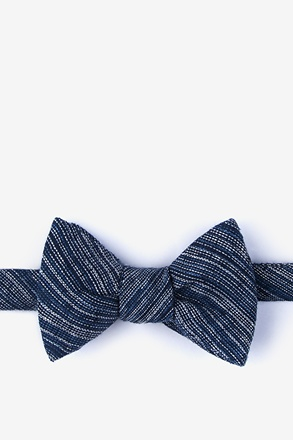 _Bates Navy Blue Self-Tie Bow Tie_