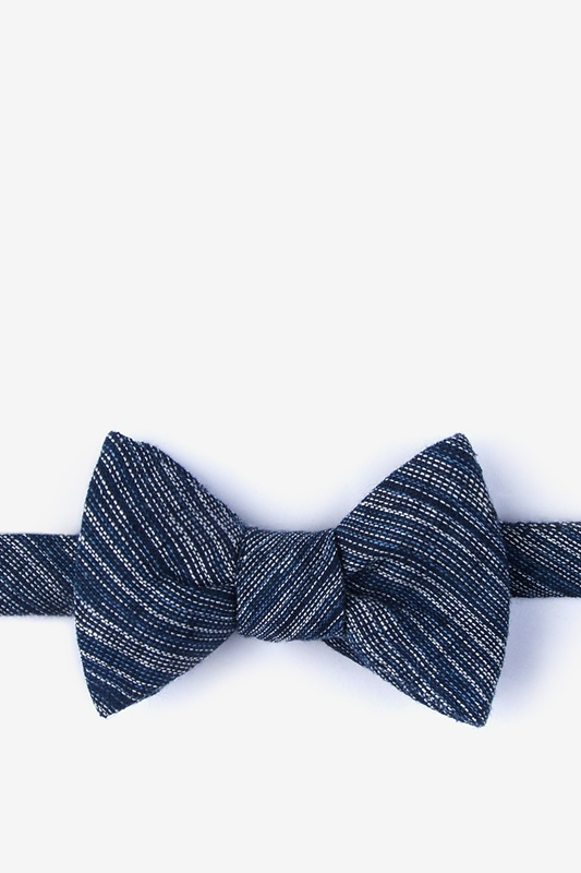 Bates Navy Blue Self-Tie Bow Tie Photo (0)