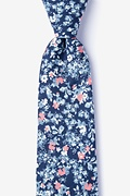 Navy Blue Cotton Beachwood Extra Long Tie