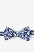 Navy Blue Cotton Beachwood Self-Tie Bow Tie