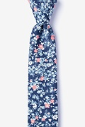 Navy Blue Cotton Beachwood Skinny Tie
