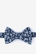 Navy Blue Cotton Blaze Bow Tie