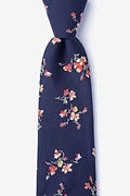 Navy Blue Cotton Bowling Extra Long Tie