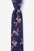Navy Blue Cotton Bowling Skinny Tie