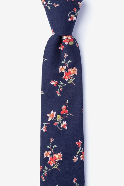 Image of Navy Blue Cotton Bowling Skinny Tie