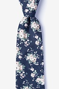 Navy Blue Cotton Brooklyn Extra Long Tie