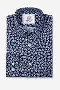 Brooks Floral Navy Blue Slim Fit Untuckable Dress Shirt Photo (0)