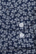 Brooks Floral Navy Blue Slim Fit Untuckable Dress Shirt Photo (2)