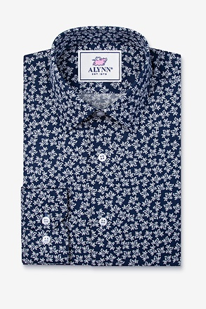 _Brooks Floral Navy Blue Slim Fit Untuckable Dress Shirt_
