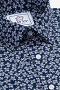 Brooks Floral Navy Blue Slim Fit Untuckable Dress Shirt Photo (1)