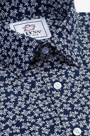Brooks Floral Navy Blue Slim Fit Untuckable Dress Shirt