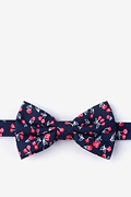 Navy Blue Cotton Cherry Pre-Tied Bow Tie