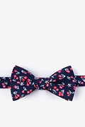 Navy Blue Cotton Cherry Self-Tie Bow Tie