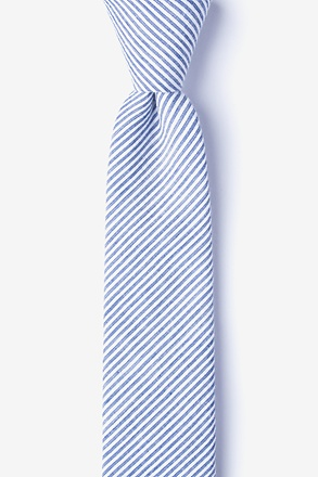 _Cheviot Navy Blue Skinny Tie_