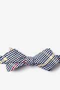 Navy Blue Cotton Douglas Diamond Tip Bow Tie