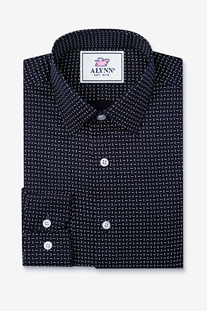 _Finn Navy Blue Slim Fit Untuckable Dress Shirt_