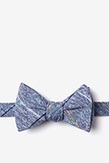 Navy Blue Cotton Globe Butterfly Bow Tie