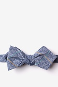 Navy Blue Cotton Globe Diamond Tip Bow Tie