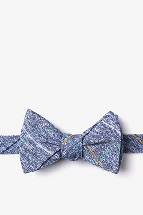 Globe Navy Blue Self-Tie Bow Tie