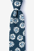 Navy Blue Cotton Hinton Extra Long Tie