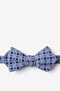 Navy Blue Cotton Jamaica Diamond Tip Bow Tie