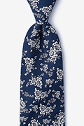 Navy Blue Cotton Jubilee Extra Long Tie