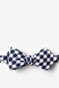 Navy Blue Cotton Kingman Diamond Tip Bow Tie