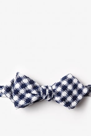 Kingman Navy Blue Diamond Tip Bow Tie