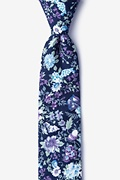 Navy Blue Cotton Moorten Skinny Tie