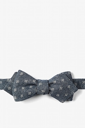 Navy Blue Bradley Diamond Tip Bow Tie