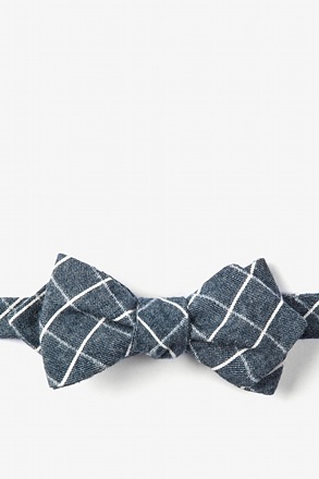 Navy Blue Philip Check Diamond Tip Bow Tie