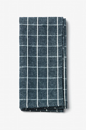 Navy Blue Philip Check Pocket Square