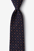Navy Blue Cotton Pala Extra Long Tie