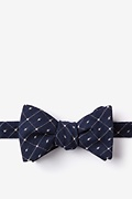 Navy Blue Cotton Pala Self-Tie Bow Tie
