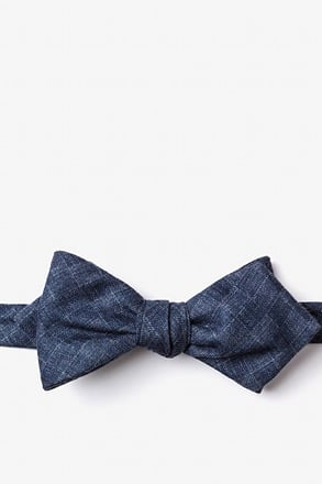 Prescott Navy Blue Diamond Tip Bow Tie