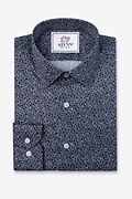 Reid Floral Navy Blue Classic Fit Untuckable Dress Shirt