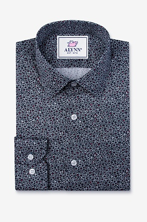 _Reid Floral Navy Blue Slim Fit Untuckable Dress Shirt_