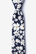 Navy Blue Cotton Romeny Skinny Tie