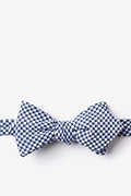 Navy Blue Cotton Sadler Diamond Tip Bow Tie