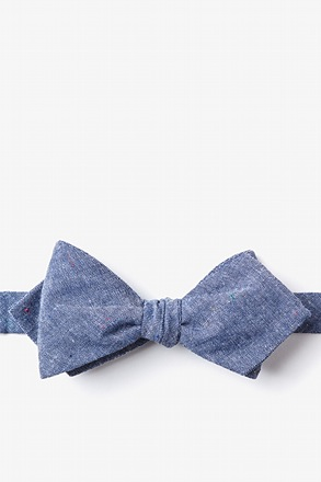 Teague Navy Blue Diamond Tip Bow Tie